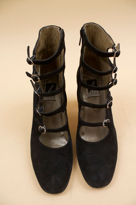 High Nubuck Heel Goth 60s Dolly Charles 39 Platform Ankle Jourdan Boot Buckle Vtg 90s Black 5 8 Eu MOD Leather does YwZBqB