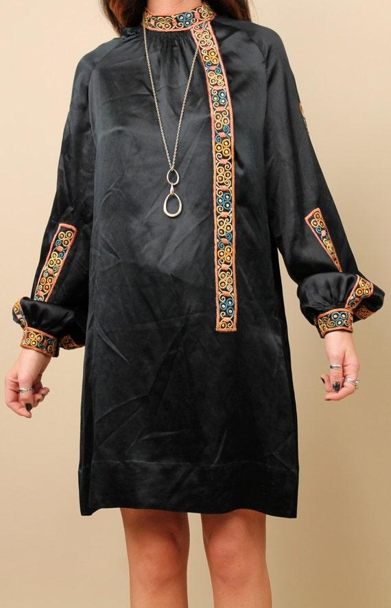 Vtg BLOUSON Poet Sleeve 60s Tapestry Mini Sm Trim Genuine Ethnic Dress Med Hippie Black EMBROiDERED SiLK Boho dwXxwpTq