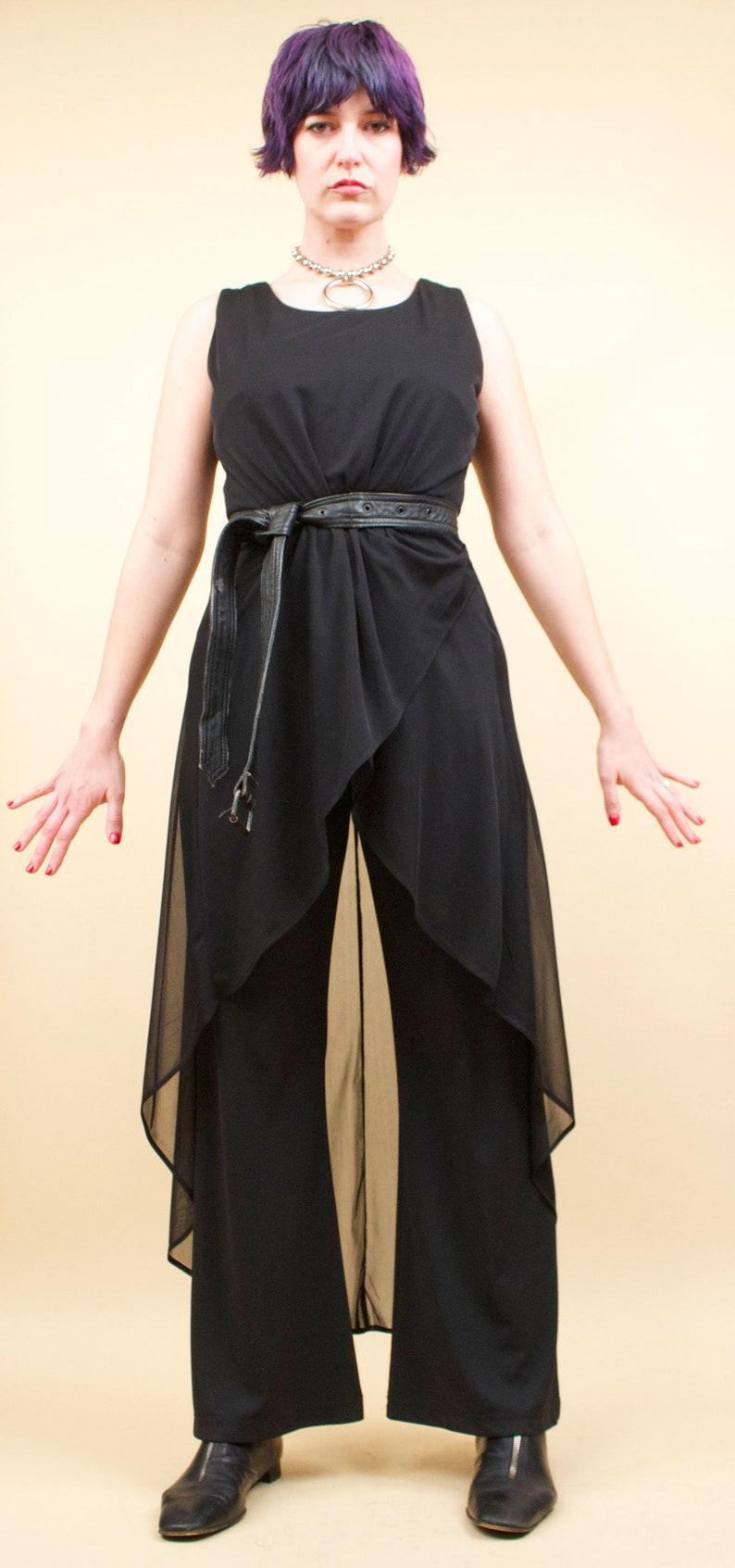 90s Vtg Jet Black Pantsuit Wide Leg Cascading Sheer Overlay Layered Avant Garde Minimalist Mod Jumpsuit tag 14 fits 12 Large