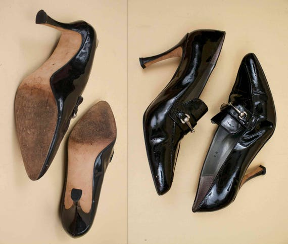 Patent 80s 90s Pointed Eu Iconic Leather High Vtg 38 Toe Black HORSEBIT Era 8 5 Style Clueless Heels VERSACE gBWWprz