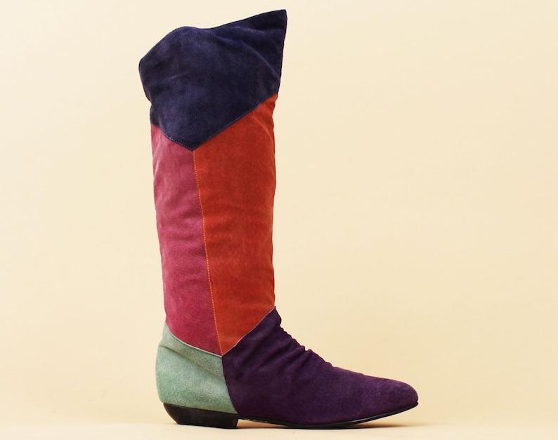 09419bd807f00 80er Jahre Vtg Color Block Genuine Leder Suede Knee High Boot Pointy  Pointed Toe Mod GoGo New Wave 7.5 EU 38