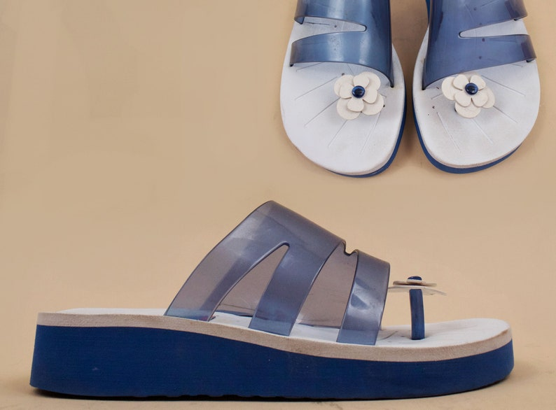 234266a082 90s Vtg Blue Transparent Foam Platform DAISY Toe Mule Slide | Etsy