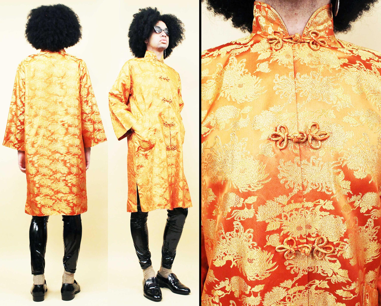 1950s Mens Hats | 50s Vintage Men's Hats 50S 60S Vtg Orange Satin  Gold Lurex Metallic Baroque Kimono Jacket Frog Button Asian Mandarin Collar Robe Unisex Womens M Mens S $93.75 AT vintagedancer.com