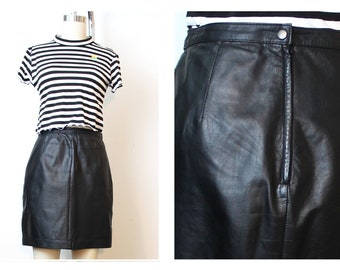 Black 80's Leather Mini Skirt Biker Moto Babe Medium Short Skirt