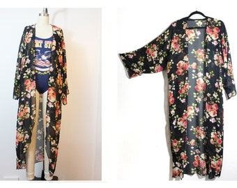 Romantic Wild Rose Sheer Robe Kimono -Sleeve Cardigan  Made to Order from Reclaimed Fabric One Size Plus Size Available