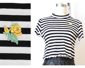 Yellow  Rebel Rose  Crop Top Made to Order 90s inspired Deadstock Fabric Eco Conscious