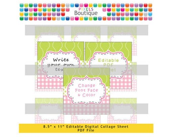 pdf editable lime pink 2 inch squares digital collage sheet no 197 stickers labels cupcake toppers avery 22806