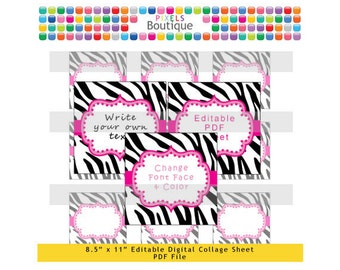 pdf editable pink zebra 2 inch squares digital collage sheet no 193 stickers labels cupcake toppers avery 22806