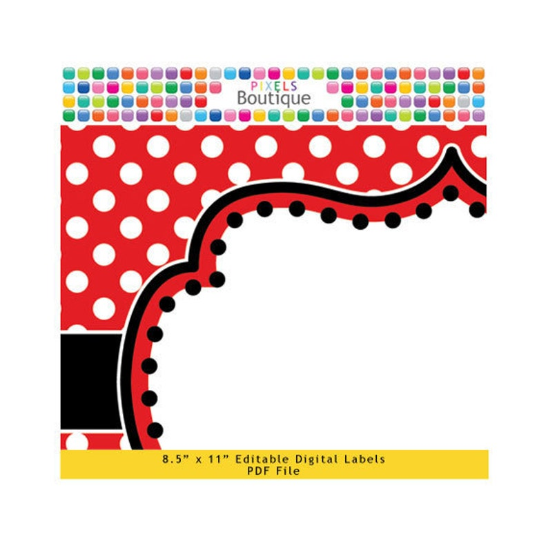 PDF Editable Red Polka Dot Mickey Welcome or Game Sign Buffet Food Cards 10 X 7.5 Labels No. 213 Favor Printable Wedding Party Mouse