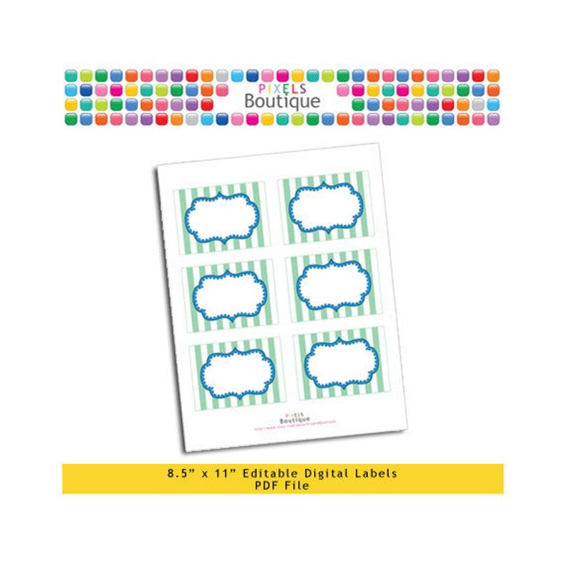 PDF Editable Green & Blue Stripes Tags/ Stickers/ Labels (No  182) 3 5