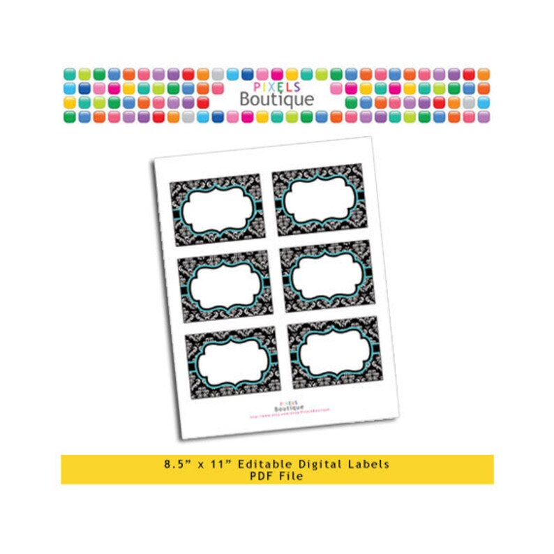 PDF Editable Black /& Teal Damask Assorted Tags Stickers Labels Favor Tags Printable Buffet or Food Cards No. 186 3.5 X 2.5 Labels