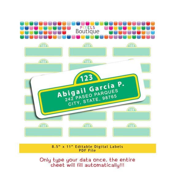 sesame street pdf editable return address labels autofill no etsy