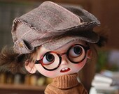 Miss yo 2019 Vintage Peaked Cap for Blythe JerryBerry dolls - Brown Stripes ( doll dress outfits )