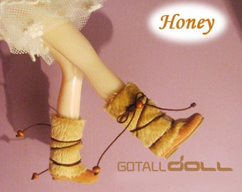 GOTALL doll handmade Fluffy Boots for Blythe doll - doll shoes -  Honey