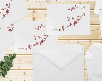 Set of 12 Holiday Cards, Twinkle with Red Sparkling Gem