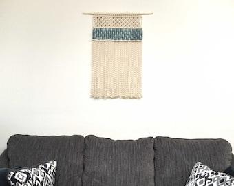 Macrame Wall Hanging, Cream with Aqua Wool Roving, Handmade, Beautiful, Boho Decor