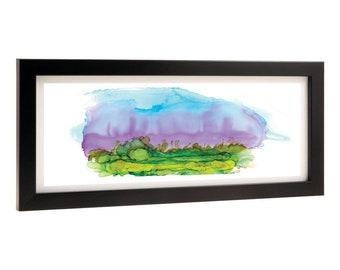 Original Abstract Landscape Print, Alcohol Ink