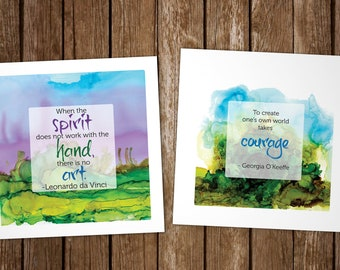 Set of 6 Greeting Cards with Art Quotes, Da Vinci, O'Keeffe, Inspirational