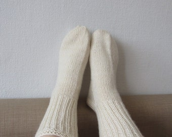 White socks natural white socks knit wool socks casual wool socks house socks warm winter accessories gift for her US 9 - 9 1/2