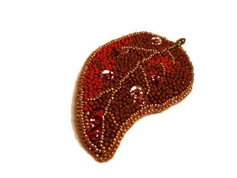 Leaf Brooch Red brooch Brown brooch Gold brooch Beaded Brooch Beadwork Leaf Bead brooch Embroidered OOAK