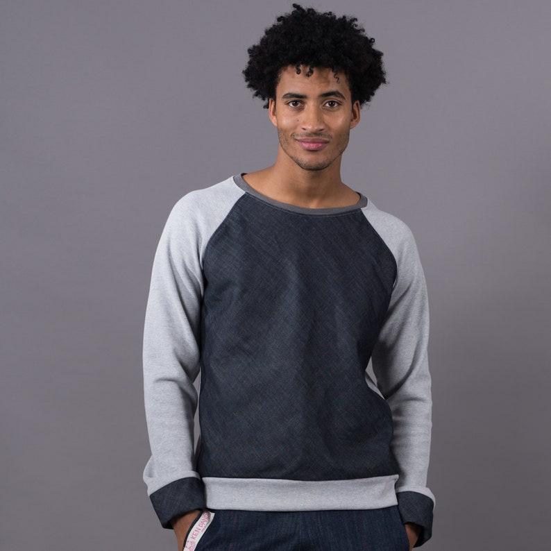 Grey melange jumper-dark blue denim image 0