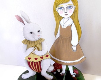 OOAK Mini Theater Paper Dolls (set of 2) - Alice and the White Rabbit by Amalia K