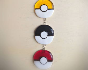 Fused Glass sun-catcher inspired by Pokemon Pokeball Poke ball  come in rows of 4 or 6 you choose colours !