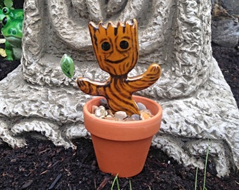 Hand Made Fused Glass Potted Groot Tree Ent Spirit Fairy inspired by Guardians of the Galaxy Marvel film Infinity Gauntlet Pagan home Decor