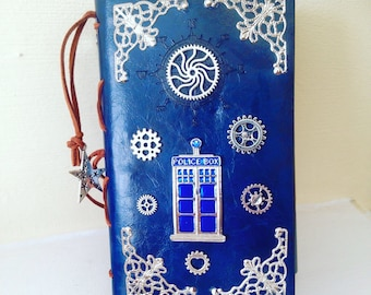 Faux leather refillable journal inspire by Doctor Who Tardis steampunk style Cosplay Fandom Book vintage Wedding Book RPG
