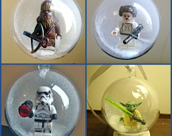 4 Christmas Tree Bauble Decorations Minifigure Mini Figure Star Wars Lego compatible  Yoda Strom Trooper chewbacca Leia