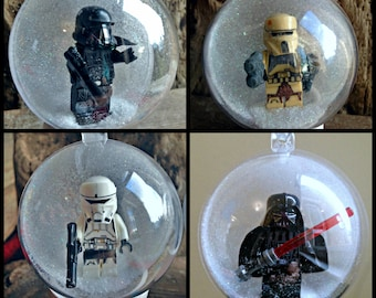 4 Christmas Tree Bauble Decorations Minifigure Mini Figure Star Wars Lego compatible ,  Darth Vader  Death Shore Tank Pilot Trooper