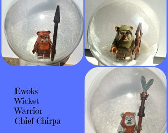 3 Ewok Christmas Tree Bauble Decorations Minifigure Mini Figure Star Wars Lego compatible