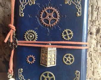 Faux leather refillable journal inspire by Doctor Who Tardis steampunk style Cosplay Fandom Book vintage