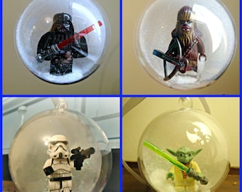 4 Christmas Tree Bauble Decorations Minifigure Mini Figure Star Wars Lego compatible Yoda Chubacca Stromtrooper Darth Vader