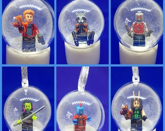 6 Handmade Mini Figure Bauble Guardians of the Galaxy Avengers Star Lord Rocket Marvel  Decorations Minifigure Mini Figure Lego compatible