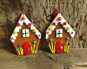 Hand crafted Fused Glass  Gingerbread House Xmas  Tree decoration
