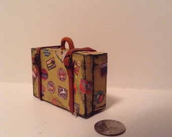 Miniature Khaki Suitcase with Travel Stickers 1:12 Scale