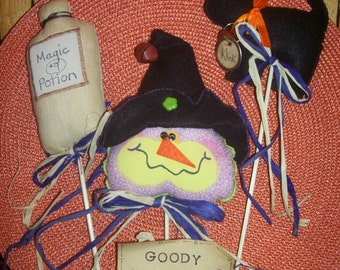 Primitive Whimsical Country Halloween WITCH CAT POTION Plant Pokes Crock Fillers Ornies