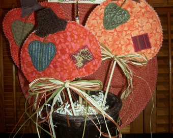 Primitive Whimsical Country Fall Harvest PUMPKINS Plant Pokes Crock Fillers Ornies