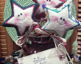 Primitive Whimsical Country HAPPY CHRISTMAS STAR Wands Plant Pokes Crock Fillers Ornies