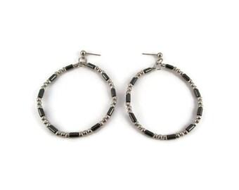Hematite and Silver Beaded Hoop Earrings