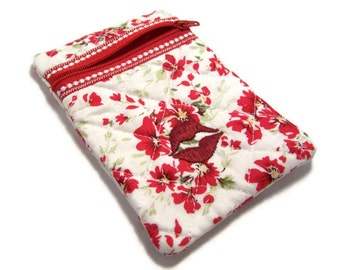 Vintage Red Flower Zipper Pouch