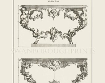 French Furniture Drawings Marble Table Entrance Hall Console Hall Table  Foyer Entrance Hall Furniture Prints Vestibule Reception Hall Decor