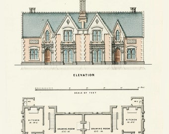 Architectural Details English House Plans from 1855. Builders House Plans and Drawings. Mans Birthday Gift. Mans Study. Country Homes Plans