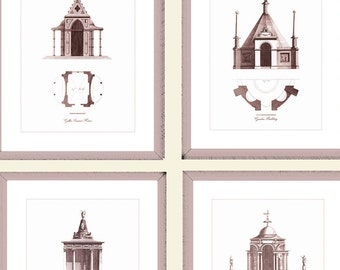 "Garden Temple Architecture Prints, Set of Four Architectural Prints, 8"" x 10"" with a 10% Discount, Brown Bronze Sepia Color, Housewarming."