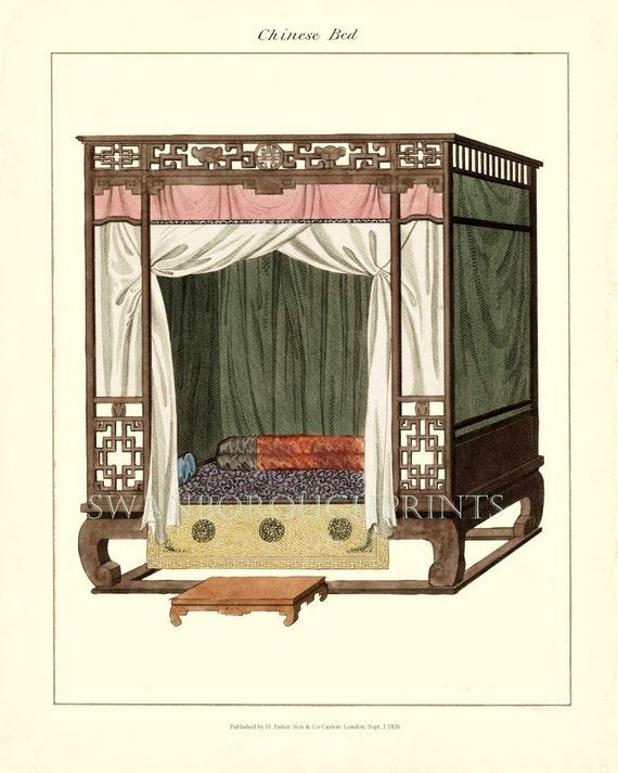 Schlafzimmer drucken chinesischen Himmelbett. Inneneinrichtung | Etsy