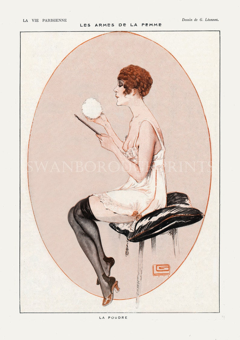 Powder Puff Art Print On Archival Watercolour Paper Nude French Woman Bathroom Decor French Nude Bathroom