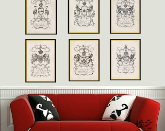 "Coat of Arms Prints. Discount Set of Six Family Crests. Buy 6 Less 15 percent Discount. Money Off Prints. Six  8"" x 10"" prints. Living Room"