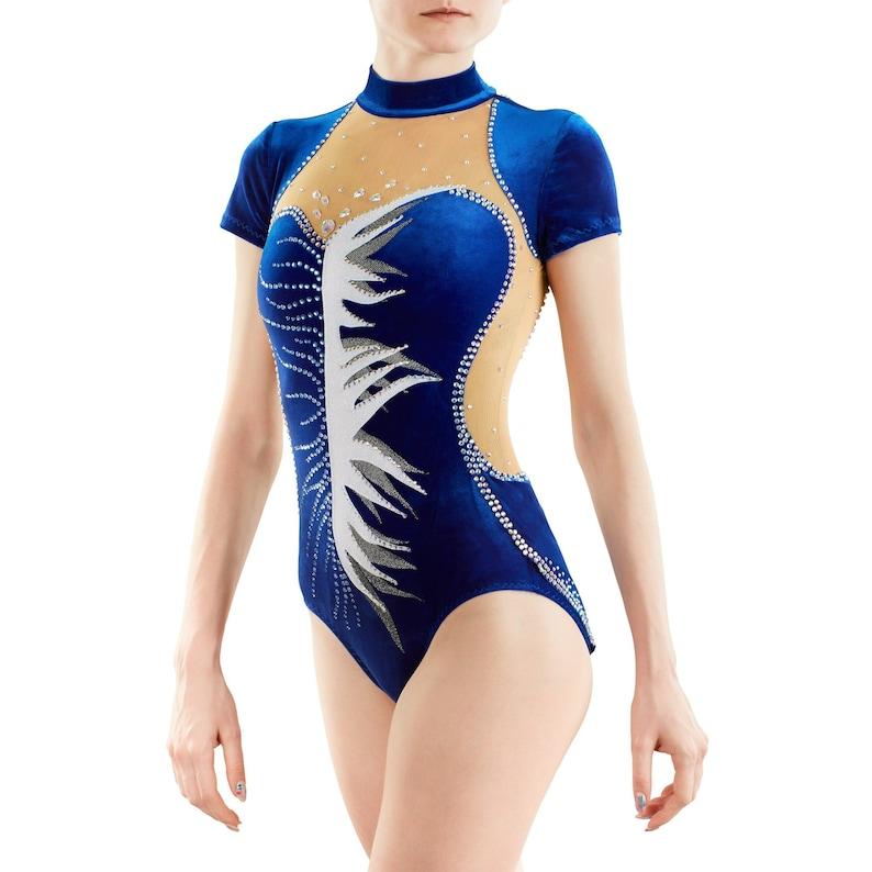 Also good as Acrobatic Gymnastics Costume or Ice Figure Skating Dress Skirtless /& sleeveless navy blue Rhythmic Gymnastics Leotard 217