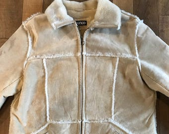 Vtg sueded Leather patchwork jacket by XOXO. Sz XL.